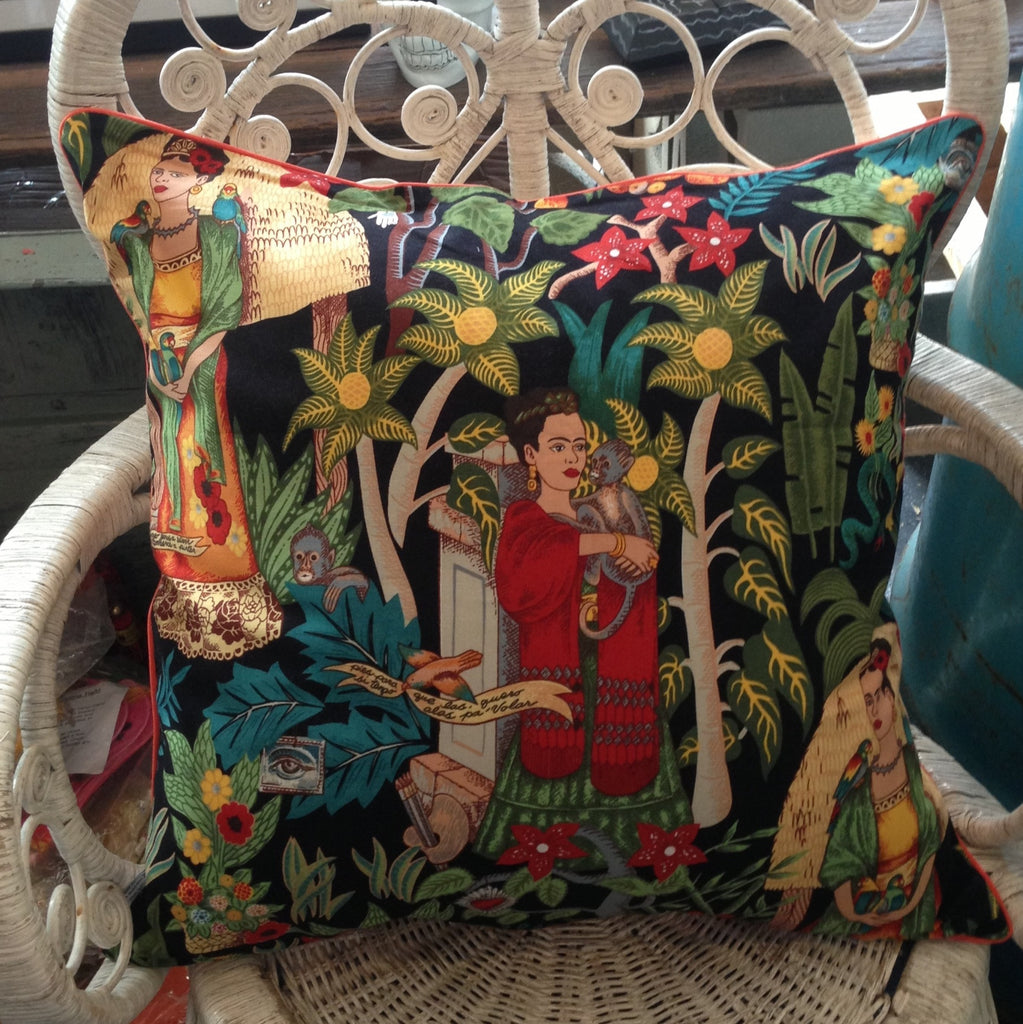 FRIDA KAHLO PIPED CUSHION hand woven Mex backing or linen