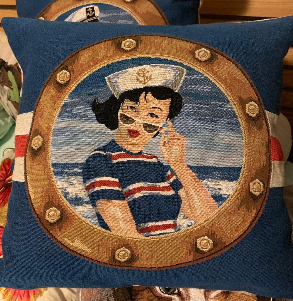 AHOY CAPTAIN CUSHION BELGIUM TAPESTRY