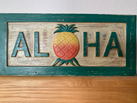 Aloha Wooden Vintage Sign 50's SOLD
