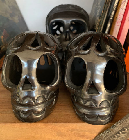 AUTHENTIC BLACK CLAY HIGHLY POLISHED SUGAR SKULL