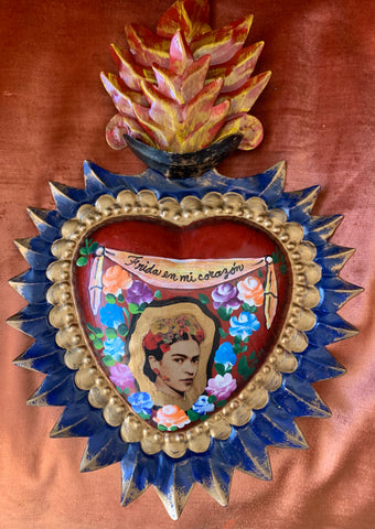 FRIDA A'FLAME MEXICAN TIN HEART