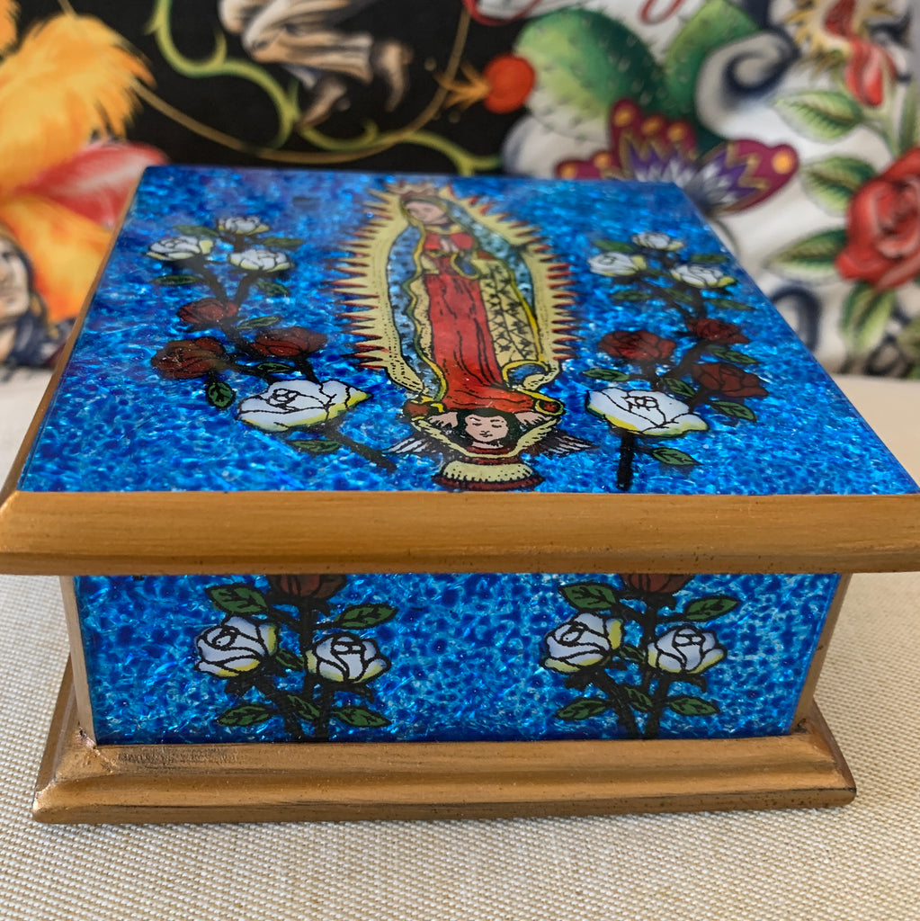 Cobalt BLUE HAND PAINTED VIRGIN TRINKET BOX