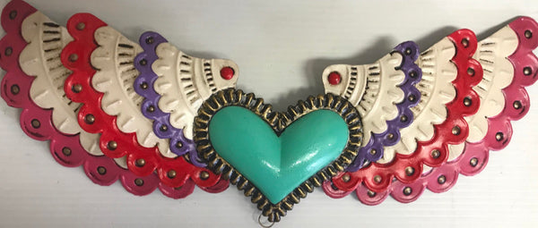 Huge Mexican Turquoise Winged Heart Tin