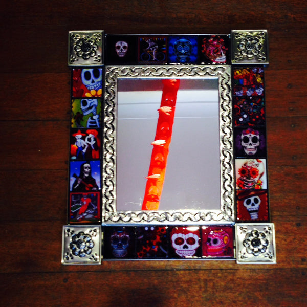TIN AND TILE DAY OF DEAD MIRROR MEXICO