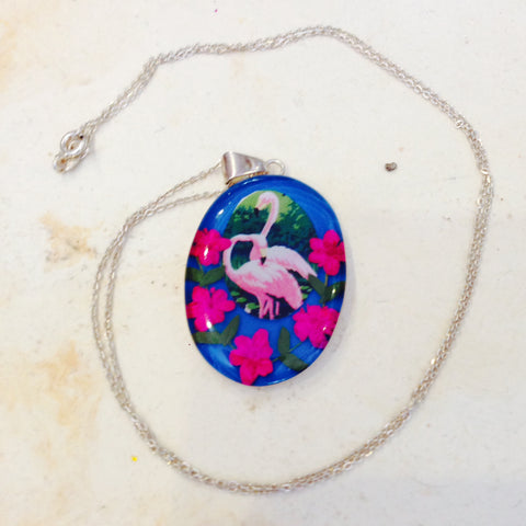 FLAMINGO REAL FLOWER NECKLACE SILVER © Holy Kitsch!