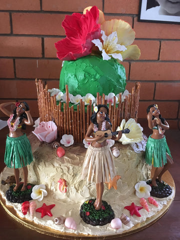 Hawaiian Resin Hula Wiggle Dolls for Helicopters Cars and Cakes