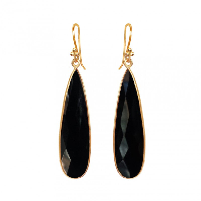 Black Spinel Teardrop - 14k Gold Vermeil Earrings