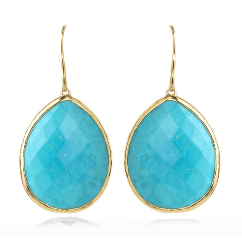 Turquoise Raindrop - 14k Gold Vermeil Earrings