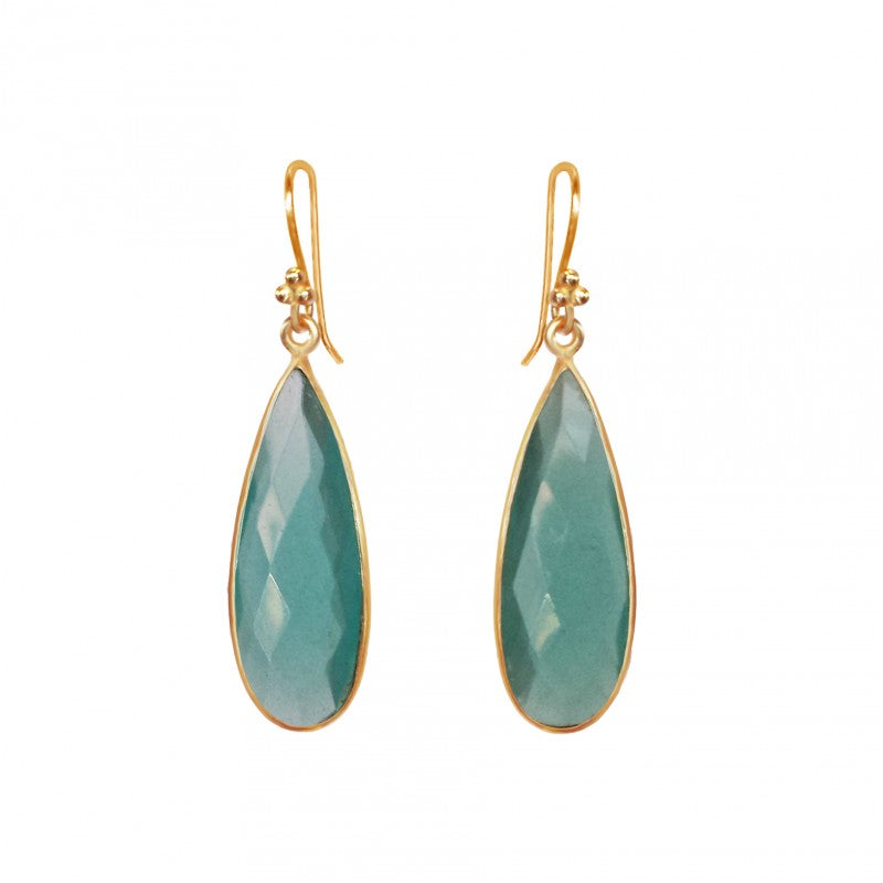 Chalcedony Teardrop - 14k Gold Vermeil Earrings