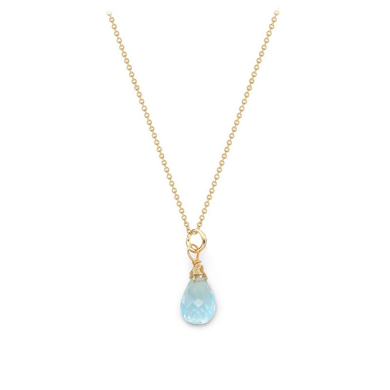Blue Topaz Tear Drop Necklace