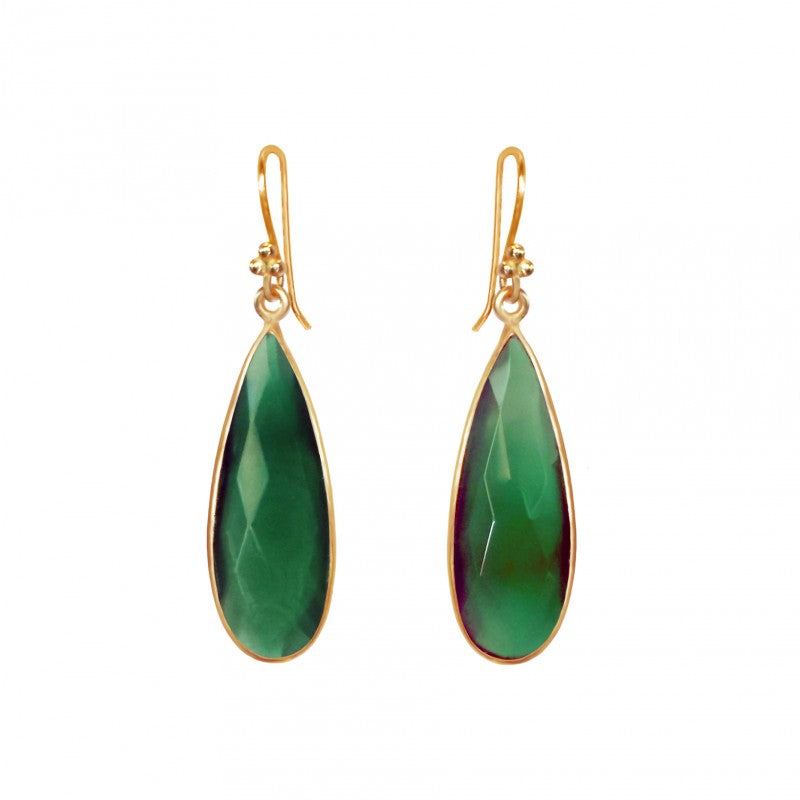 Green Onyx Teardrop - 14k Gold Vermeil Earrings