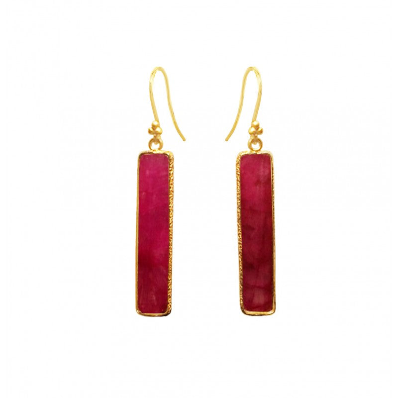 Rectangle Ruby Earring