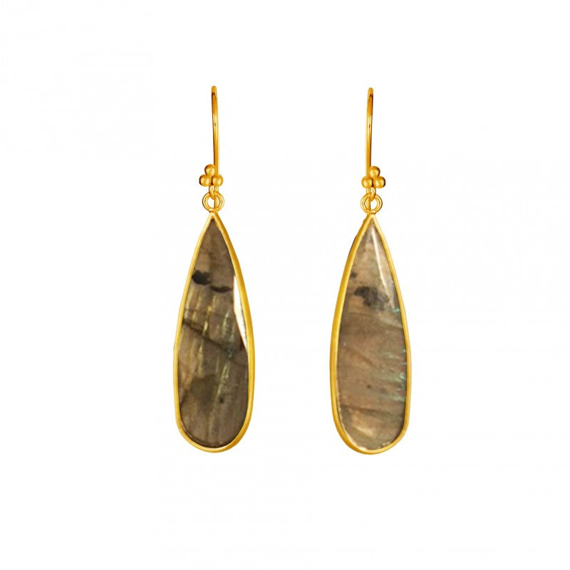 Labradorite Teardrop - 14k Gold Vermeil Earrings