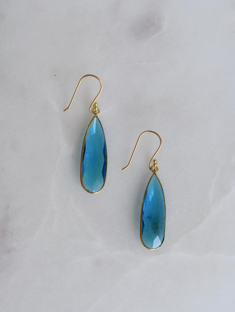 Blue Hydro Quartz Tear Drop Earrings