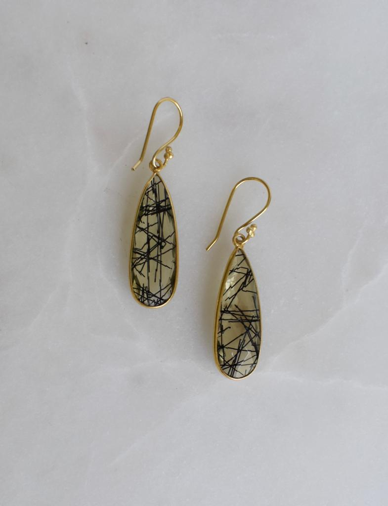 Rutilated Quartz Tear Drop Earrings Earrings