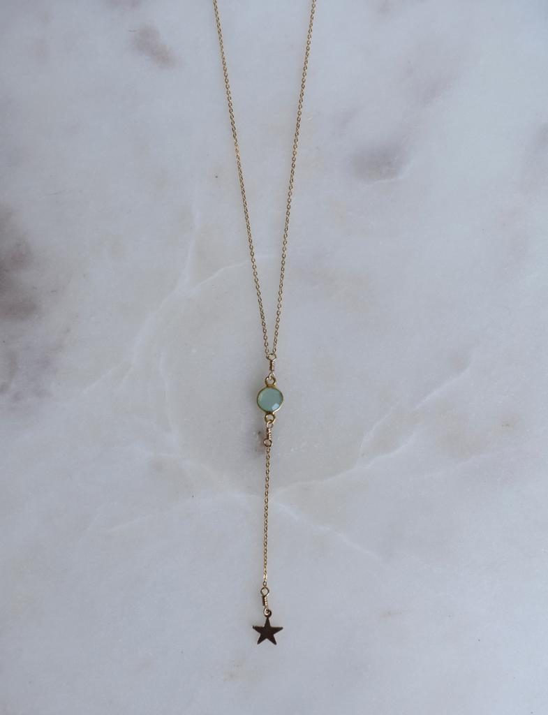 Shooting Star Green Chalcedony Lariat