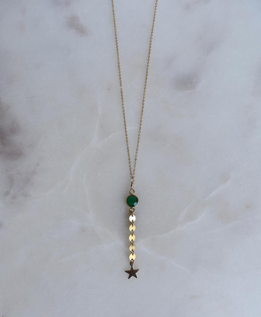 Shooting Star Green Onyx Necklace