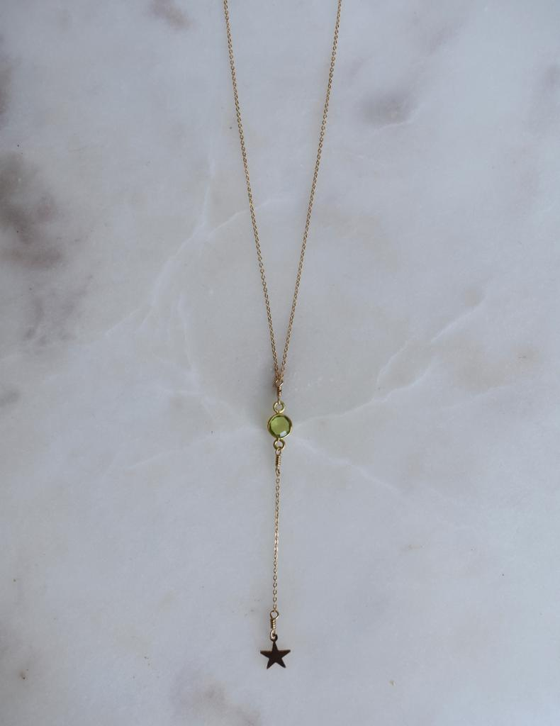 Shooting Star Green Peridot Lariat