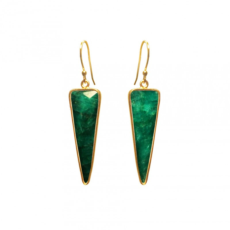 Emerald Triangle - 14k Gold Vermeil Earring