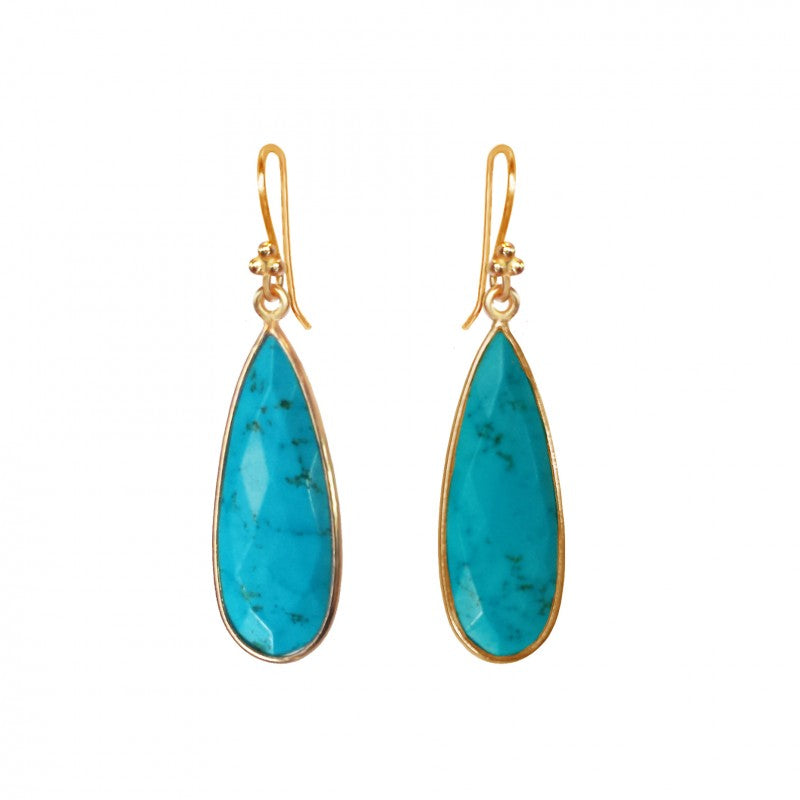 Turquoise Teardrop - 14k Gold Vermeil Earrings
