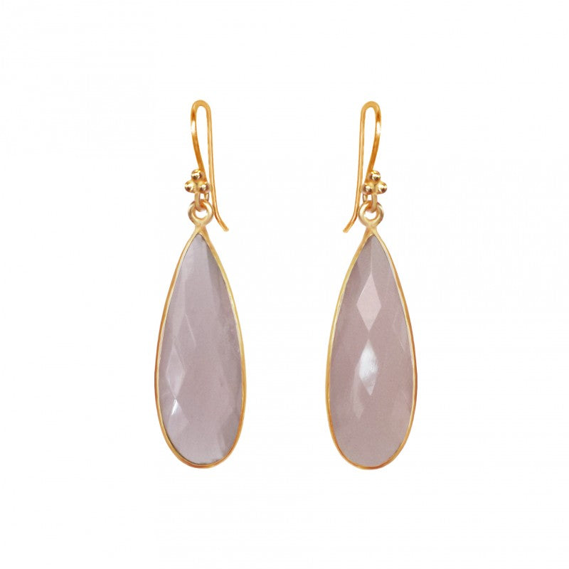 Rose Quartz Teardrop - 14k Gold Vermeil Earrings