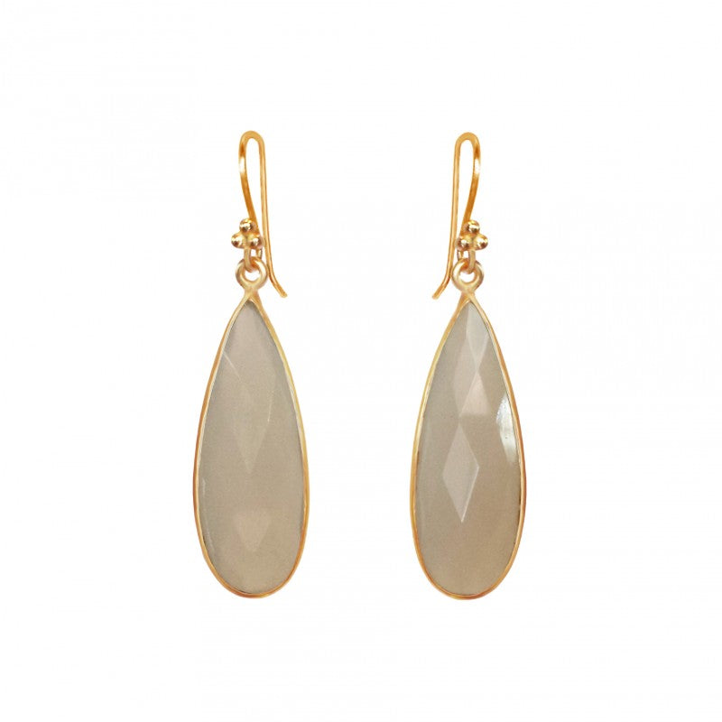 Moonstone Teardrop - 14k Gold Vermeil Earrings