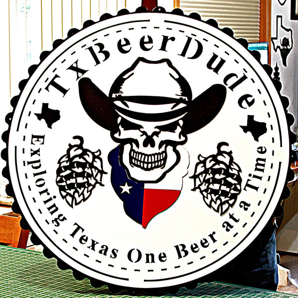 Texas Beer Dude Logo Sign