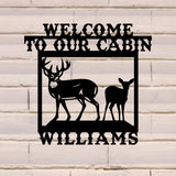 Family Sign with Deer