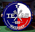 Texas BBQ Outpost Custom Logo Sign