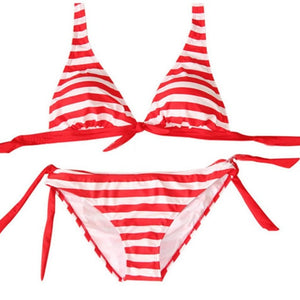 a2c668bc183 OUTAD 2018 Sexy Striped Women Swimsuit Front Bowknot Bikini Suit Split Type  Swimwear Sexy Summer Swimming