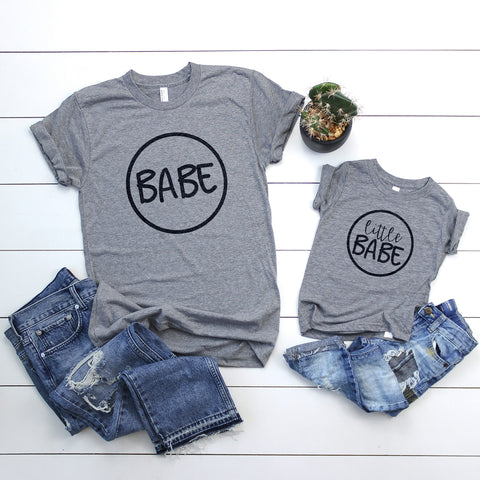 "Grey Tee Shirt with black letters, ""Little Babe"" and ""Babe"""