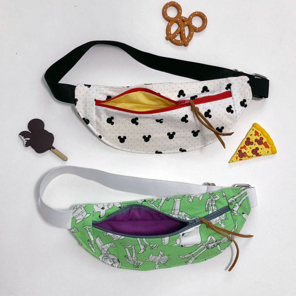 Fanny Pack in green fabric with Toy figures