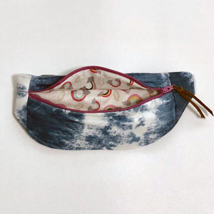 Fanny Pack in denim with rainbow interior.