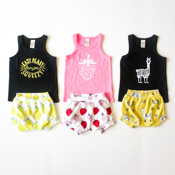 Shorties collection, Lemon, Llama, and Berry with matching Tank Tops.