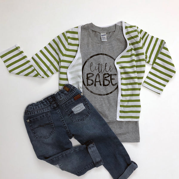 "Grey Tee Shirt with black letters, ""Little Babe"" and jeans"