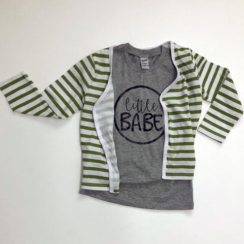 "Grey Tee Shirt with black letters, ""Little Babe"""