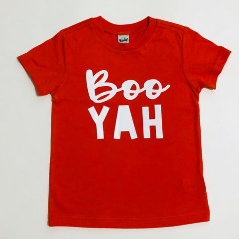"Red shirt with white letters that says ""Boo Yah"""