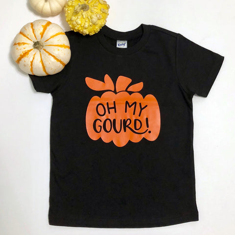 "Black Tee shirt with orange gourd that says ""Oh My Gourd"""