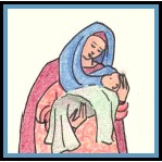 Mary holds baby Jesus