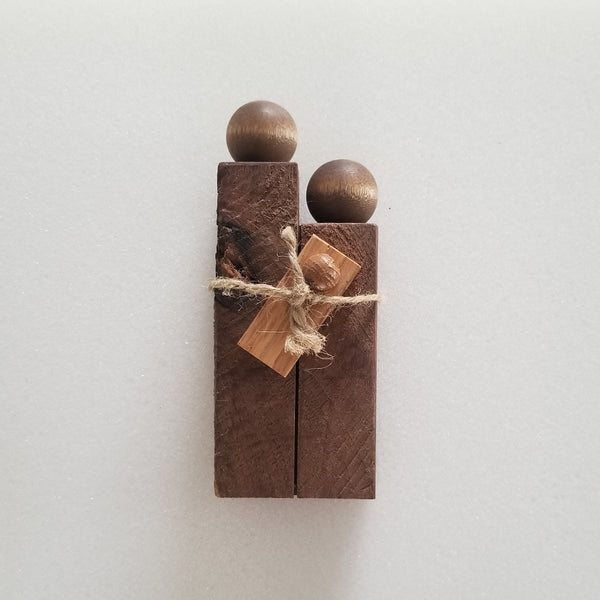 Nativity Figures (Walnut Knot 1): Mary, Joseph & Jesus