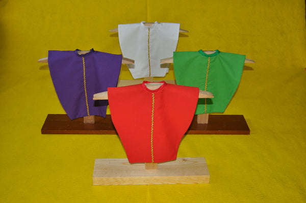 4 Liturgical Colors Set: Mini-Chasubles with Wooden Stands