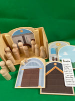 Home Infancy Narratives (Nativity) Set - House with Figures, Bookmark & Wooden Backdrops