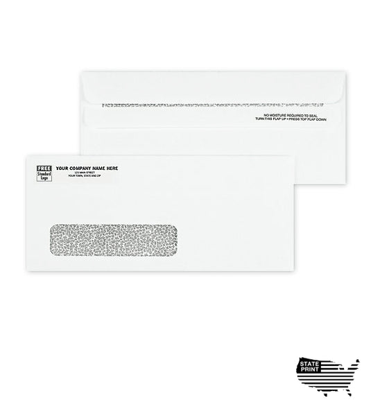 #10 Envelopes - Imprinted - Single Window - Self Seal - Confidential Security Tint