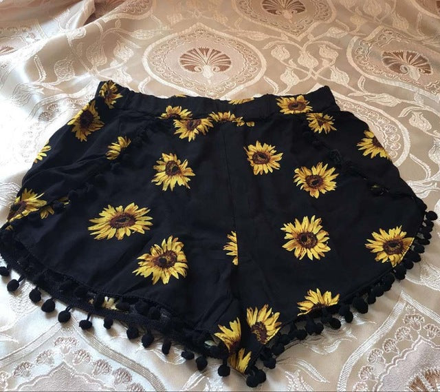 7318c4ba5ec Summer Style Casual Shorts Women Black Beach Pom Pom Ball Tassel Sunflower  Print