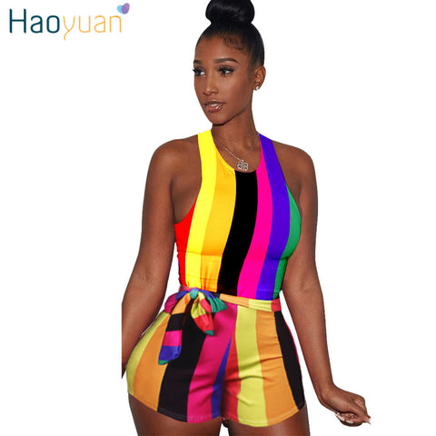 2ca0d4d4b64 Sexy Striped Playsuit With Sashes 2018 Summer Overalls Club Bodycon Bodysuit