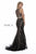 Shail K High Neck Embellished Red Carpet Style Gold Dress 40226