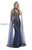 Shail K Split Caped V-Neck Sheer illusion Indian Inspired Gold Dress 43171