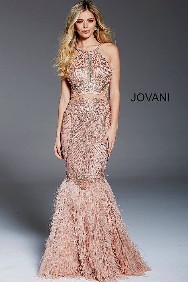 c83a73ee6ea0 Jovani Blush Embellished Fitted Feather Bottom Formal Gown 59873 ...