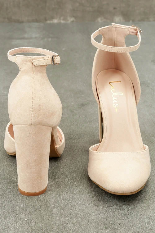 faad59e0fe Laura Nude Suede Ankle Strap Heels – Dashing Dresses