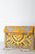 Meadows Beige and Mustard Yellow Velvet Embroidered Clutch